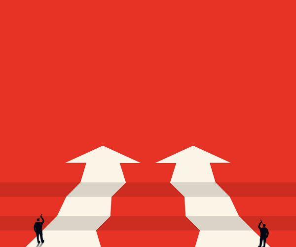 Vector concept of business opportunities or obstacles. Pointing arrow with a chasm. The businessman looks through binoculars. . The concept of foresight, risk. Symbol of the future, career success.